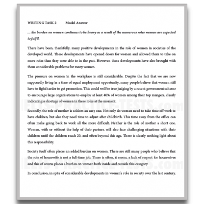 IELTS Writing Practice General Training Task 2 Model Answer